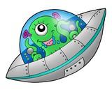 Cute alien in spaceship poster