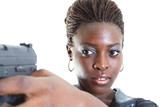 Woman aiming a handgun poster