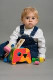 bébé jeux jouet amusement garçon salopette cube apprendre poster