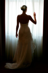 Silhouette of a beautiful bride