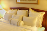 Comfortable hotel bed poster