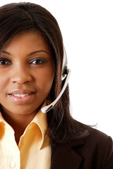 This is a close-up image of a female call operator.