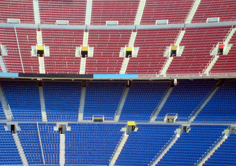Rows of seating in stadium, Nou Camp, Barcelona, Spain.