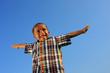 Leinwanddruck Bild - Boy pretending to fly