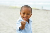 Boy pretending to be spidederman poster