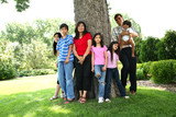 Large multiracial family of seven poster