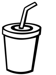soda beverage with drinking straw