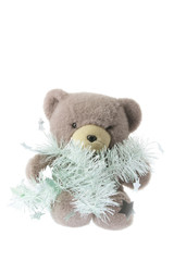 Teddy Bear with Tinsels on White Background