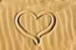 Heart drawn into sand