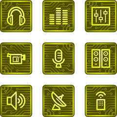 Media web icons, electronics card series