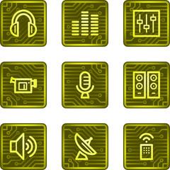 Media web icons, electronics card series