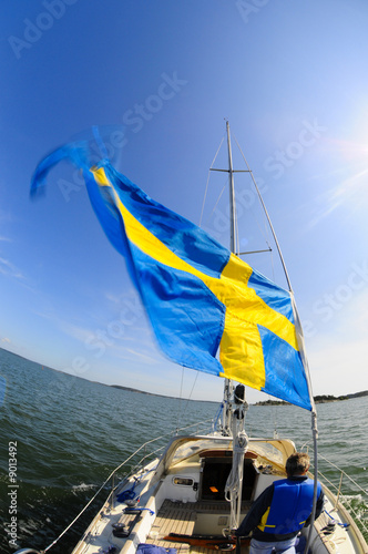 Swedish sailor navigates towards the horizon