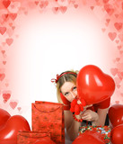 beautiful blond girl with shining hearts and presents poster