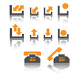 Icons are in grey and orange tones. Vector.