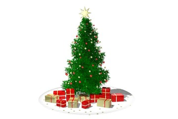christmas tree and gifts against white background