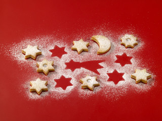 Shortbread biscuits on red background