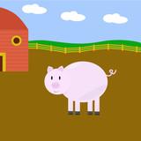 Cartoon pig on a farm poster