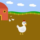 Cartoon chicken on a farm poster