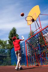 Basketball on children's athletic field