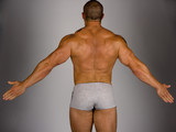 Back view of a body builder poster