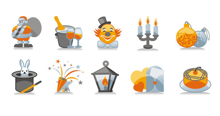 New Year icons set, including ten icons