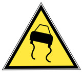 road slippery pictogram on a yellow triangular sign poster