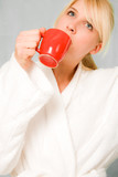 blond woman wake up with coffee poster