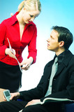 A man and woman on workplace poster