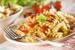 fresh pasta with tomato sauce close up