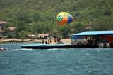 pontoon for parasailing and parachute. poster