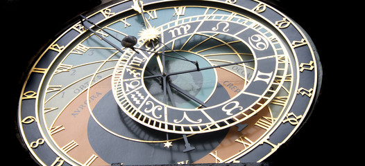 detail of very old astronomical clock from the Prague
