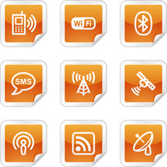 Communication web icons, orange glossy sticker series