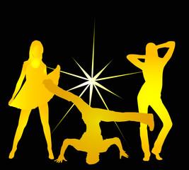 Bailando de noche en un club