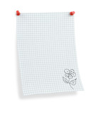 thumbtacked squared paper with flower motif , poster