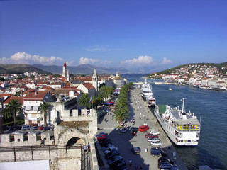 Croatia - City of Trogir - harbour with ferryboat