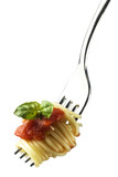 fresh spaghetti on fork close up shoot