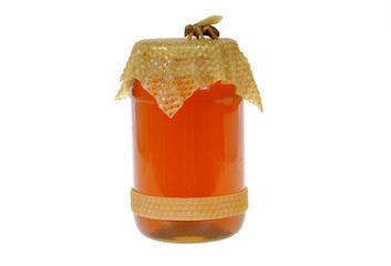 big jar of the honey isolated on white background