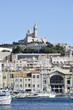 Notre-Dame de la  garde depuis le port, Marseille, France
