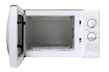 Microwave oven on white