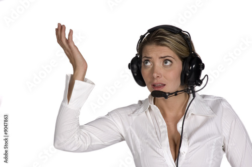 confused female pilot isolated over white