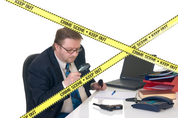 CSI investigator researching office crime scene