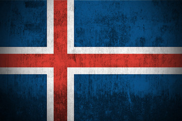 Weathered Flag Of Iceland, fabric textured..