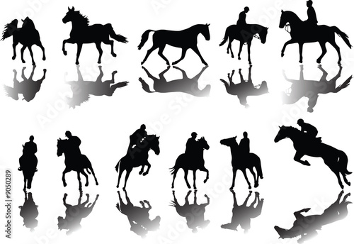 Horses and riders silhouettes with shade