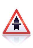 Intersection avec une route non prioritaire (reflet métal) poster