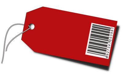 Blank price tag with barcode and string