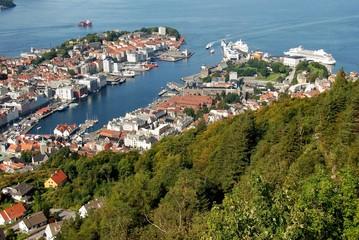 Blick auf Bergen in Norwegen