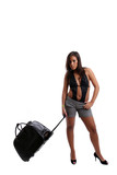 Hot Girl going on vacations, isolated over white background poster