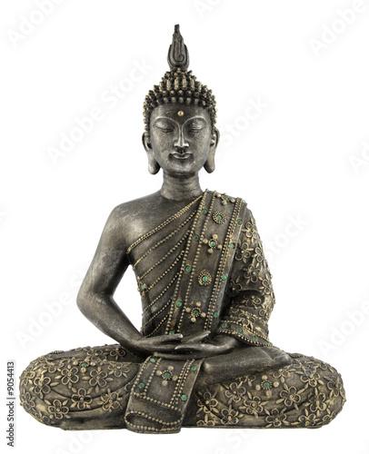 Aluminium Standbeeld statue de bouddha sur fond blanc