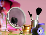 Young actress on stage behind makeup area poster