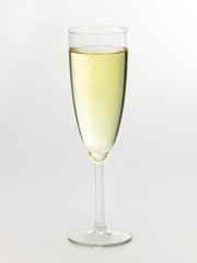A Champagne glass with Champagne on white background